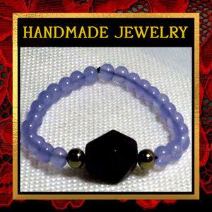 Purple Chalcedony & Quartz Bracelet  #237